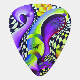 Retro Abstract Electric Blue and Harlequin Green Guitar Pick