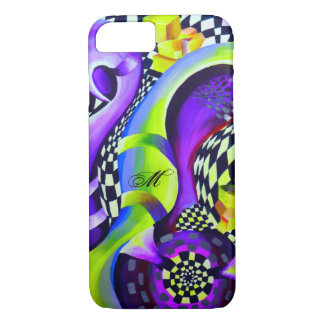 Retro Abstract Electric Blue and Harlequin Green iPhone 8/7 Case