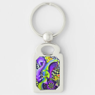 Retro Abstract Electric Blue and Harlequin Green Keychain