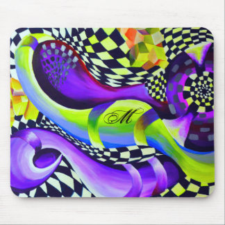 Retro Abstract Electric Blue and Harlequin Green Mouse Pad