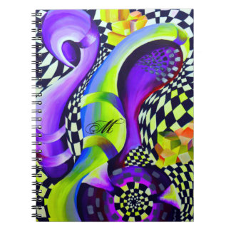 Retro Abstract Electric Blue and Harlequin Green Notebook