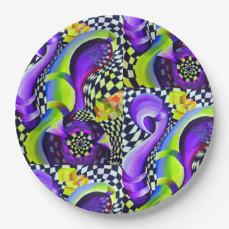 Retro Abstract Electric Blue and Harlequin Green Paper Plate