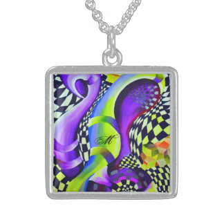 Retro Abstract Electric Blue and Harlequin Green Sterling Silver Necklace