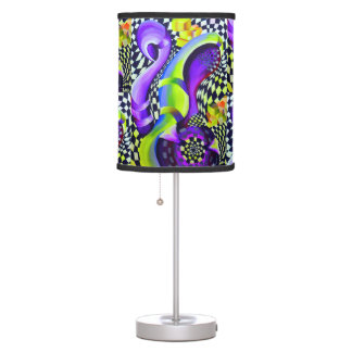 Retro Abstract Electric Blue and Harlequin Green Table Lamp