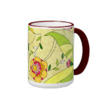 Retro Abstract Floral Collage Coffee Mugs