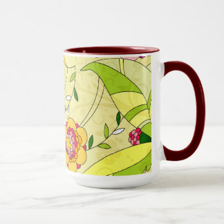 Retro Abstract Floral Collage Mug