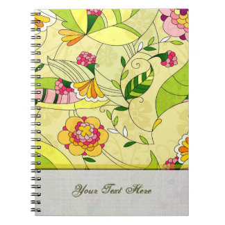 Retro Abstract Floral Collage Notebook