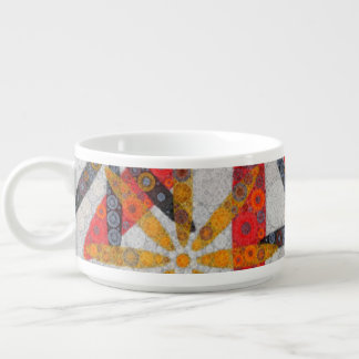 Retro Abstract Flowers Chili Bowl