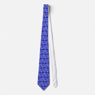 Retro Abstract Flowers Sapphire Blue Stripe Tie