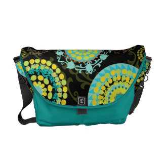 Retro Abstract Funky Floral in Teal & Green Courier Bags