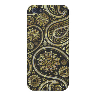 Retro Abstract Paisley Pern-Gold & Diamond Case For The iPhone 5