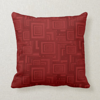 Retro Abstract Rectangle Pattern Red Throw Pillow