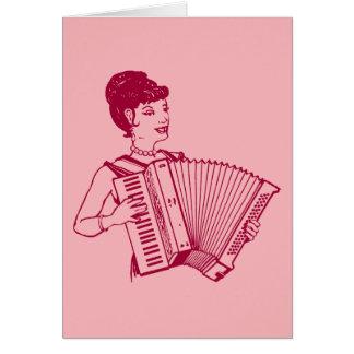 Retro Accordion Lady Card