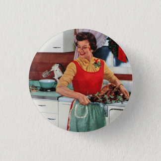 Retro ad - 1950s vintage housewife 1 inch round button