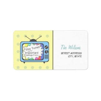 Retro Address  Label - Blue TV Set