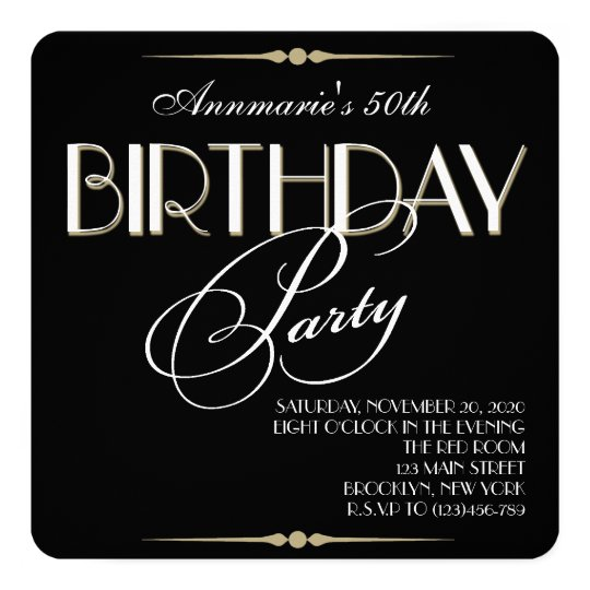Retro Adult Birthday Party Invitation
