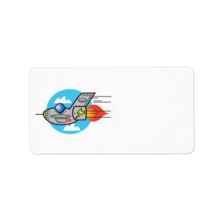 retro aeroplane jet personalized address label