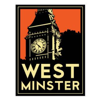 rétro affiche de voyage d art déco de Westminster Cartes Postales
