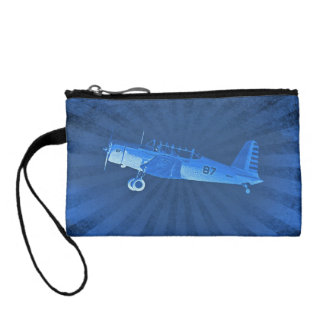 Retro Airplane #87 Blue Key Coin Clutch