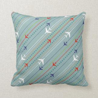 Retro Airplane Pattern Button Throw Pillow