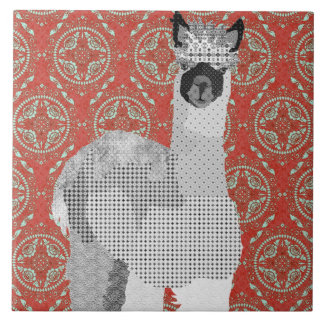 Retro Alpaca Art Tile