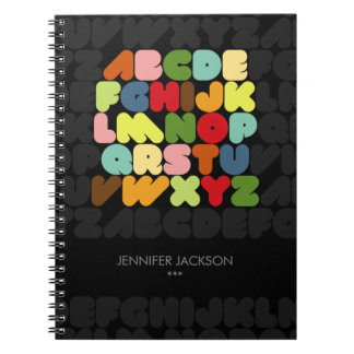 Retro Alphabet Letters A to Z notebook