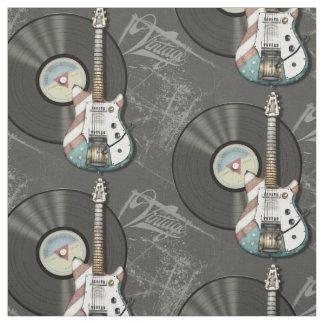 Retro American Flag Guitar And Vinyl Record Fabric
