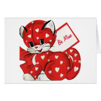 Rétro amour de Valentine de coeurs blancs rouges Carte De Vœux
