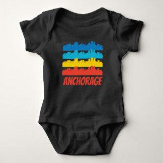 Retro Anchorage AK Skyline Pop Art Baby Bodysuit