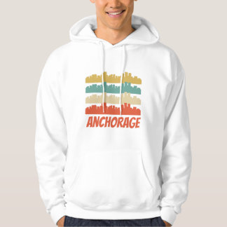 Retro Anchorage AK Skyline Pop Art Hoodie