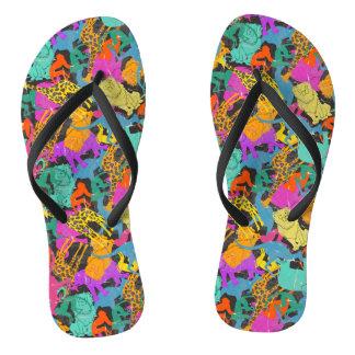 Retro Animal Silhouettes Pattern Flip Flops