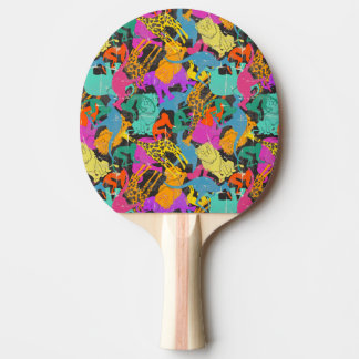 Retro Animal Silhouettes Pattern Ping-Pong Paddle