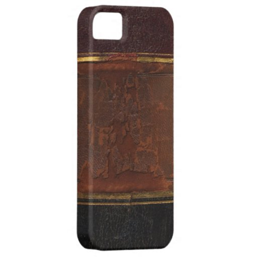 Old Leather Book Iphone Cover : Retro antique book faux leather bound brown iphone