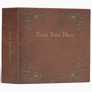 Retro Antique Book, faux leather bound brown Vinyl Binder