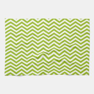 Retro Apple Green Chevron Stripes Towels
