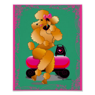 Retro Apricot Poodle on Phone Art Print