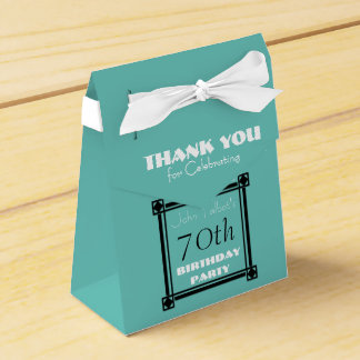 Retro Aqua 70th birthday Party Favor Box