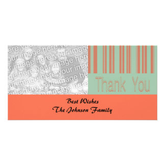 Retro aqua and orange stipes card