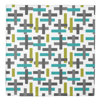 Retro Aqua Blue, Green, Grey Abstract Duvet Cover