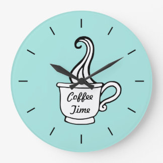 Retro Aqua Diner Coffee Kitchen Wall Clock