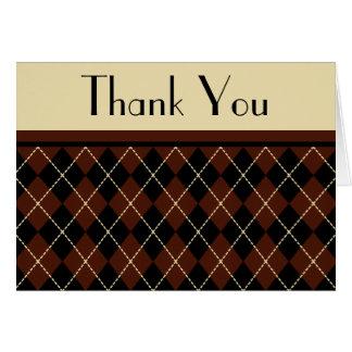 Retro Argyle Thank You Card