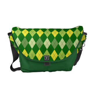 Retro Argyle Trendy Be Green Messenger Bags