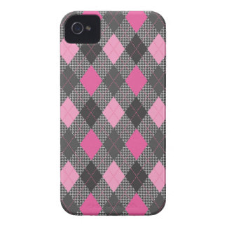 Retro Argyle Trendy Pink Herringbone Check iPhone 4 Case