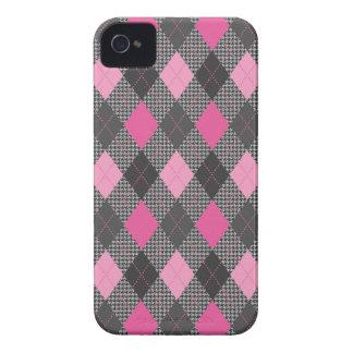 Retro Argyle Trendy Pink Herringbone Check iPhone 4 Covers