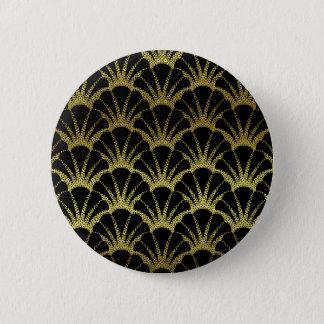 Retro Art Deco Black / Gold Shell Scale Pattern 2 Inch Round Button