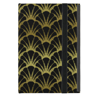 Retro Art Deco Black / Gold Shell Scale Pattern iPad Mini Case