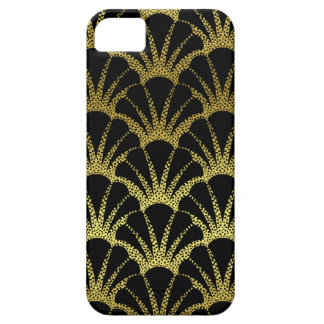 Retro Art Deco Black / Gold Shell Scale Pattern iPhone 5 Covers