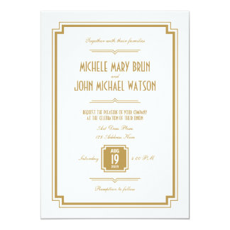 Retro Art Deco Gold Color White Wedding Invitation