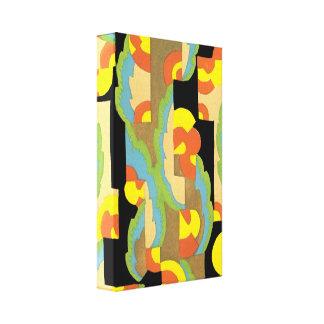 Retro Art Deco Jazz Circles Clouds Rainbow Pattern Stretched Canvas Print