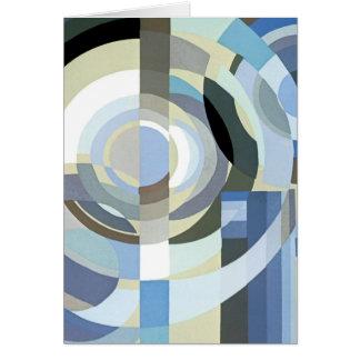 Retro Art Deco Jazz Vintage Blue Circles Pattern Card